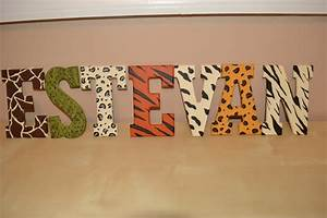 handpainted animal print letters With animal print letters