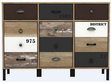 cuisine style industriel rangement 3 portes 3 tiroirs oldy vente de buffet bahut
