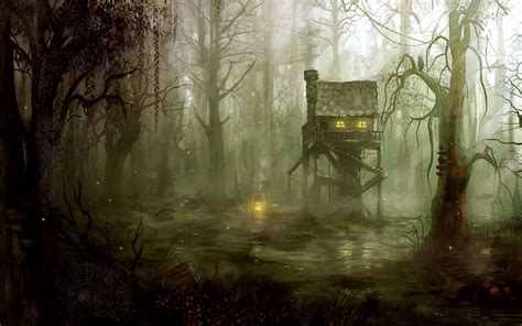 fantasy art forest witch swamp wallpapers hd desktop