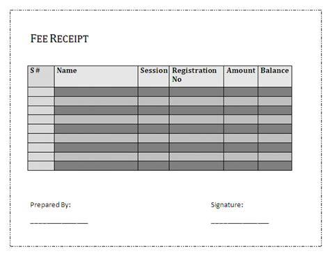 fee receipt format fee receipt template free business templates