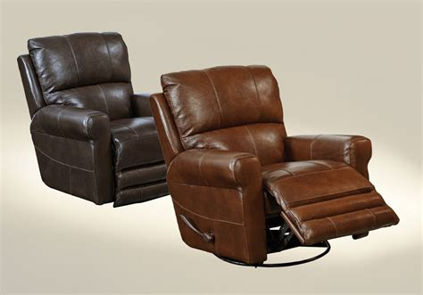 grain leather recliner catnapper hoffner top grain leather touch swivel glider