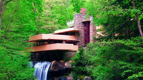 nature landscape waterfall long exposure frank lloyd wright trees forest falling water
