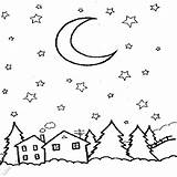 Coloring Night Sky Starry Colouring Outline Printable Drawing Desenhos Owl Skies Template Colorir Mm Google sketch template