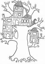 Coloring Treehouse Tree Pages Wierd Template Popular sketch template