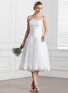 forme princesse sans bretelle longueur mollet tulle robe With robe de mariée longueur mollet