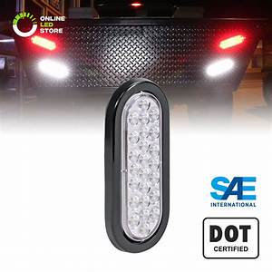 6 U0026quot  Oval White 24 Led Truck Rv Trailer Tail Lights Reverse