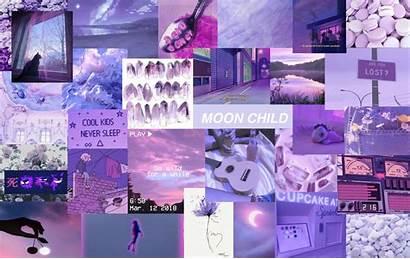 Aesthetic Collage Laptop Purple Wallpapers Desktop Computer