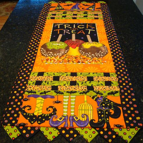 halloween quilted table runner halloween quilted table runner witch shoes hats candy