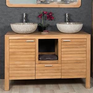 Meuble sous vasque double vasque en bois teck massif for Meuble sous vasque