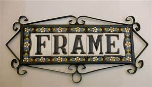 typic spanish metalic frame for tiles of 75 cm height With spanish ceramic letter tiles