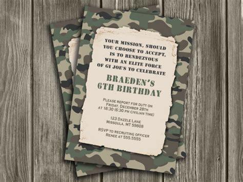 printable camouflage army birthday invitation camp gi