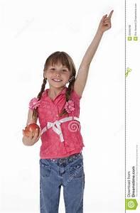 Little Girl Pointing Upward Stock Photo - Image of smiling ...