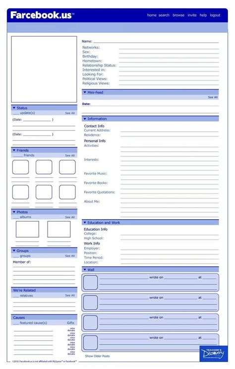 farcebook template template historical figures characters in a novel or teaching