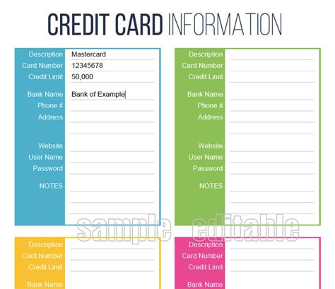 Here are some free visa cards! Credit Card Information Printable EDITABLE Personal