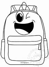 Cartoon Backpack Coloring Happy Coloringpage Eu sketch template