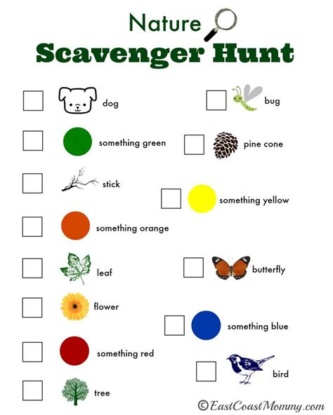 nature scavenger hunt with free printable 852   64d7c1146a9644f9e242f66074354080 fall activities for kids nature activities