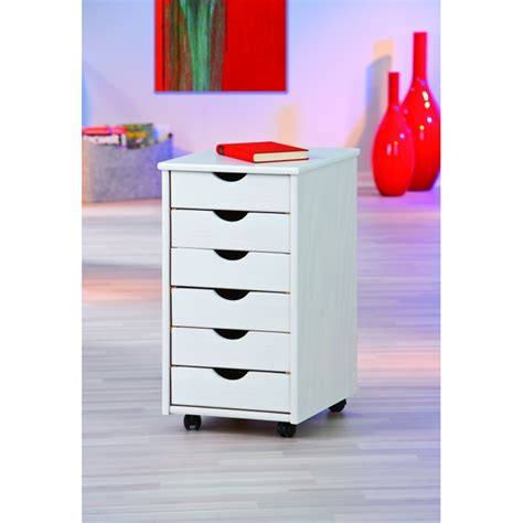 meuble tiroir bureau caisson sur roulettes blanc simon meuble 6 tiroirs