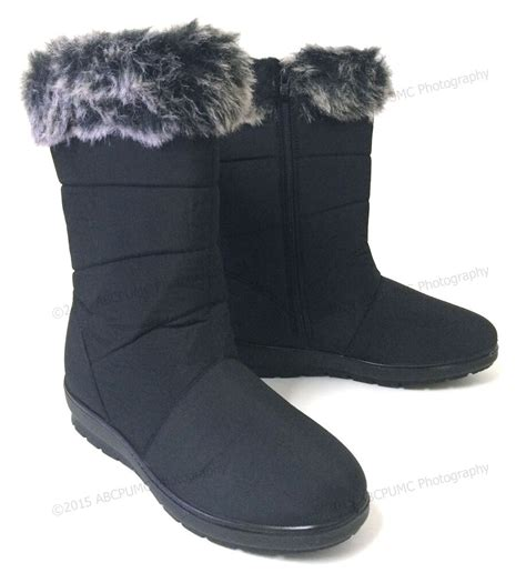 womens winter boots black  fur lined fashion warm