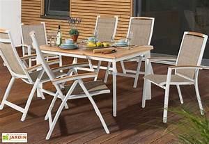 Salon Aluminium De Jardin : salon de jardin alu avec table teck 6 chaises blanc ~ Edinachiropracticcenter.com Idées de Décoration