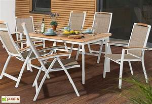 Salon De Jardin Aluminium : salon de jardin alu avec table teck 6 chaises blanc catena sieger ~ Teatrodelosmanantiales.com Idées de Décoration