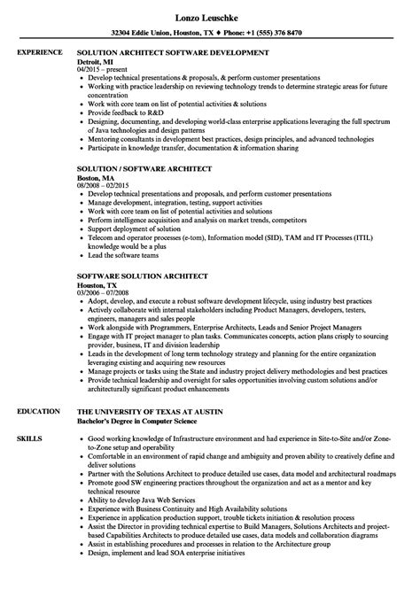 Sle Solution Architect Resume by Software Solution Architect Resume Sles Velvet