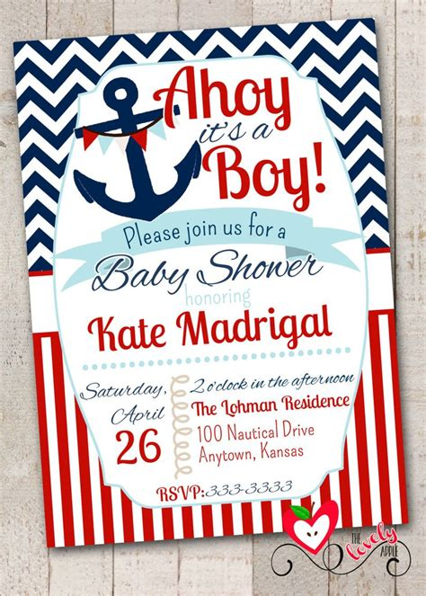 nautical baby shower invitation   diaper
