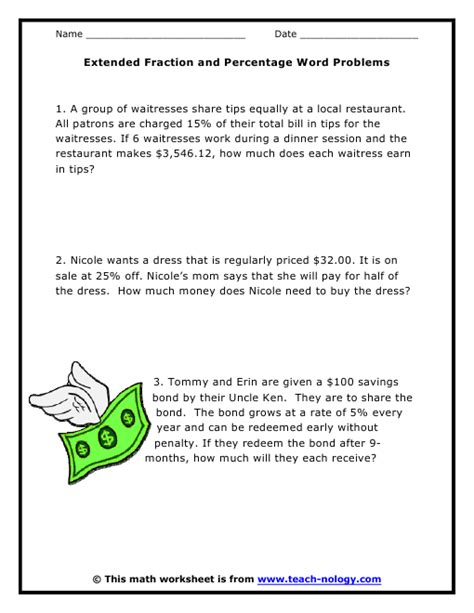 extended fraction and percentage word problems