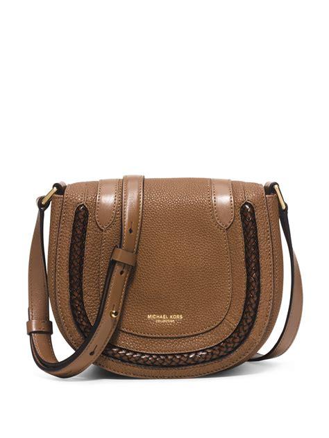 Michael Kors Skorpios Small Leather Crossbody Bag in Brown ...