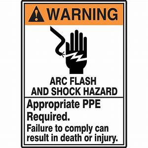 safety sign arc flash and shock hazard ppe req 14x10 With arc flash and shock hazard