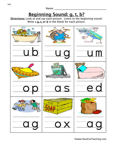 beginning sounds worksheet g t b teaching