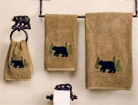 Kitchen Lights Ceiling Ideas - black bear forest towel collection