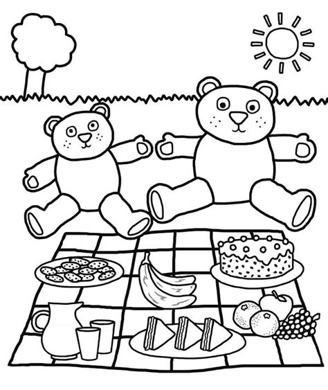 picnic coloring pages teddy bears picnic coloring