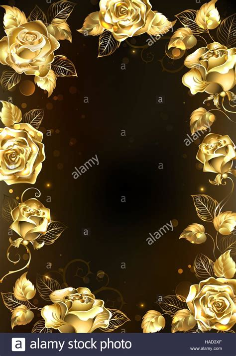 frame  sparkling jewelry gold roses   black