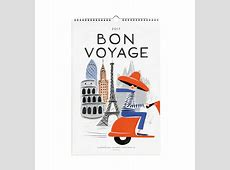 2017 Bon Voyage Wall Calendar by RIFLE PAPER Co Made in USA