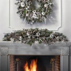 let it white pre decorated christmas mantel swag traditional wreaths and garlands by frontgate