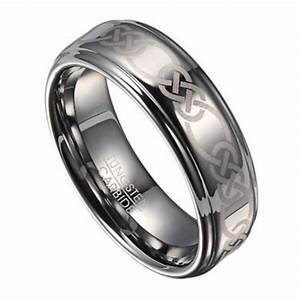 8mm Celtic Knot Men39s Tungsten Wedding Band With Polished