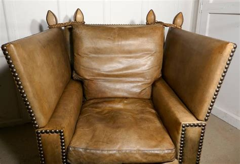 Large Victorian Soft Leather Knole Armchair At 1stdibs