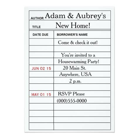 library card housewarming invitations    invitation