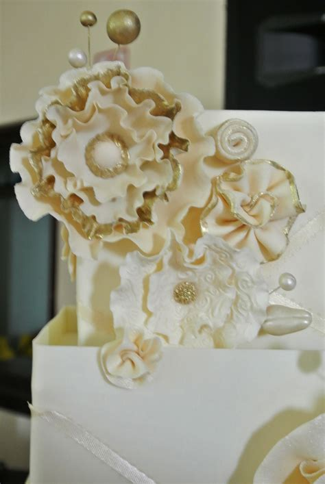 wedding cake  gold accents cakecentralcom