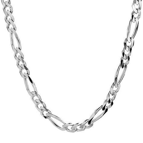 mens sterling silver italian  mm solid figaro link
