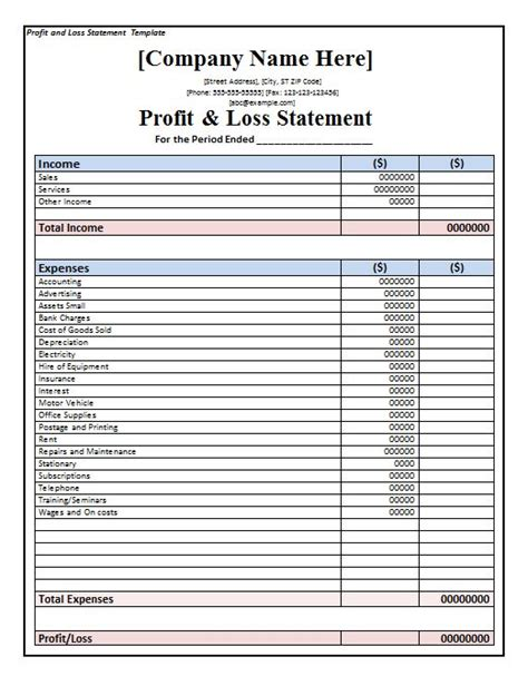 free printable profit and loss statement form 35 profit and loss statement templates forms
