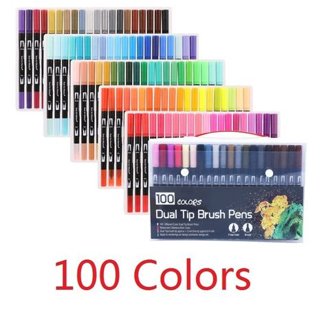 set colors fine liner drawing painting watercolor