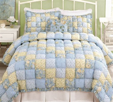 puff bedspreads puff quilt or king set cottage blue yellow