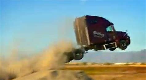 semi truck driver   jump record winds    yard