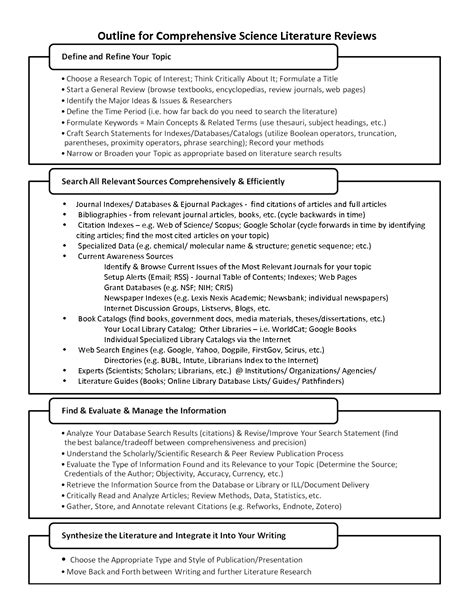Literature Review Template Best Photos Of Literature Review Template Literature