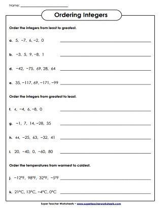 Integer Worksheets