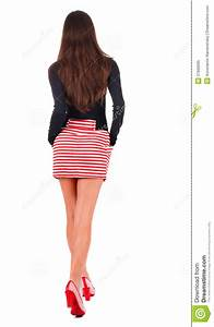 Back View Of Going Woman In Red Dress  Royalty Free Stock