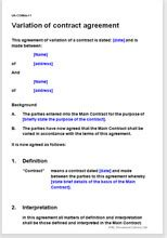 variation  contract agreement change terms   contract