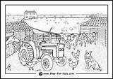 Farm Coloring Pages Colouring Scene Yard Animal Farmyard Drawing Animals Printable Drawings Busy Sketch Barn Template Sketchite Landscapes Folk Colorful sketch template