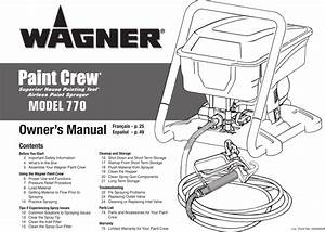 Wagner Spraytech Airless Paint Sprayer 770 Users Manual